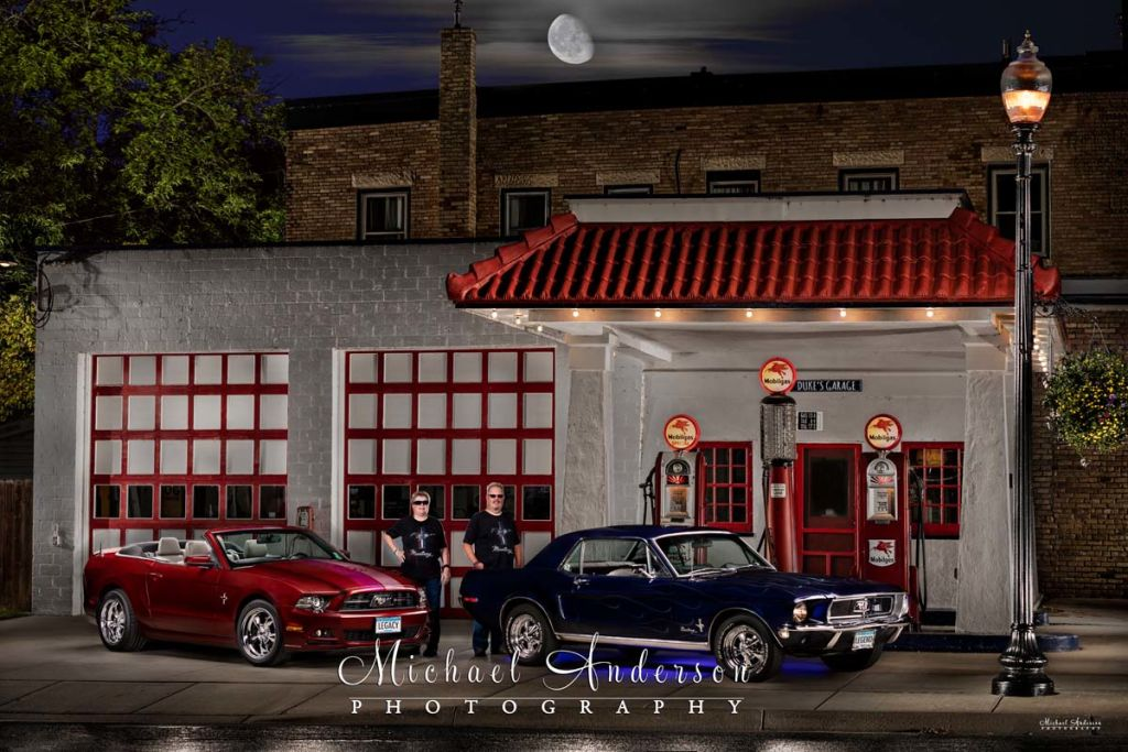 Light Painting Two Ford Mustangs.